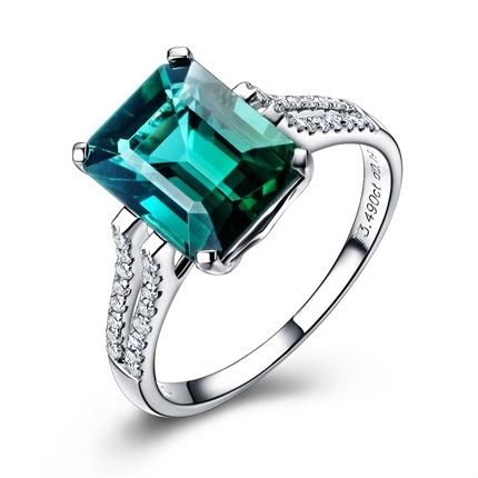 【女王】 白18k金绿碧玺戒指