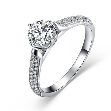 【神话】 白18K金60分/0.6克拉钻石女士戒指