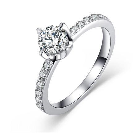 【水中花】 白18K金50分/0.5克拉钻石女士戒指