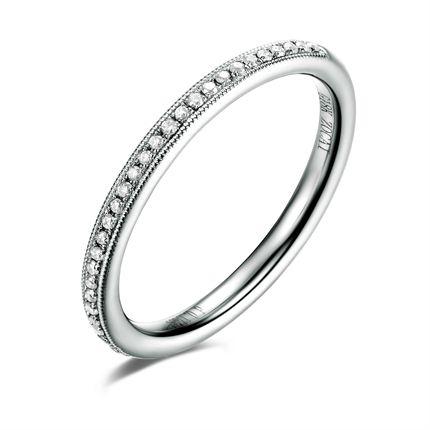 【轮回】 白18K金0.11分/11克拉钻石女士戒指