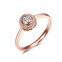 【圆点】系列 玫瑰金8分/0.08克拉钻石女士戒指