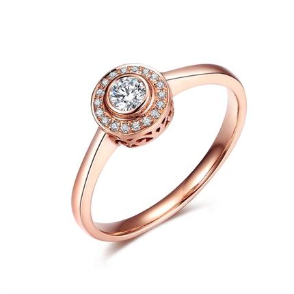 【圓點】系列 玫瑰金8分/0.08克拉鉆石女士戒指