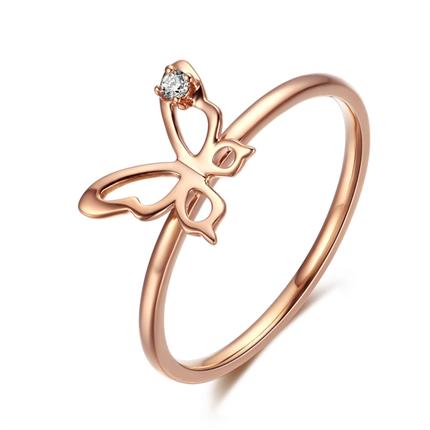 【蝶恋】系列 玫瑰18k金钻石钻戒蝴蝶造型钻石女戒