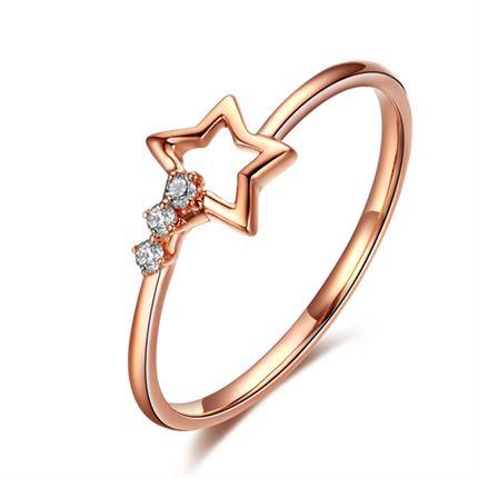 【小心情】 玫瑰18K金星星形时尚钻石女戒