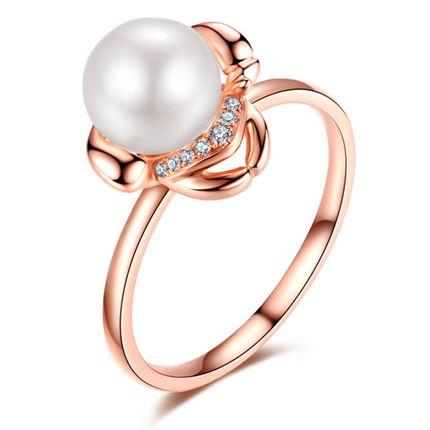 【萌宠】系列 玫瑰18K金珍珠钻石戒指