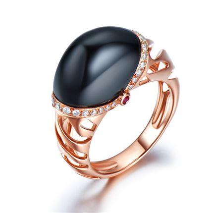 【冰與火】系列產品 玫瑰18k金黑色瑪瑙戒指