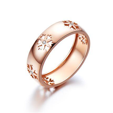 【初雪】系列产品 玫瑰金钻石戒指