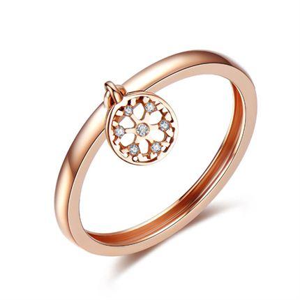 【初雪】系列产品 玫瑰金钻石女戒