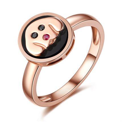 【萌宠】系列 玫瑰18k金黑钻镶红宝石戒指