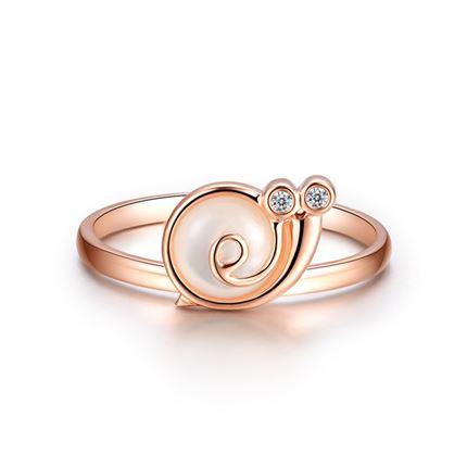 【蜗牛小姐】 玫瑰金钻石女士戒指