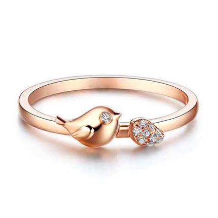【幸运精灵-小鹊幸】 玫瑰金钻石戒指