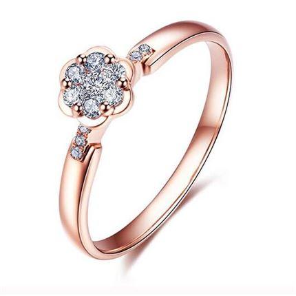 【花语-梅花】 玫瑰金钻石花型女款戒指