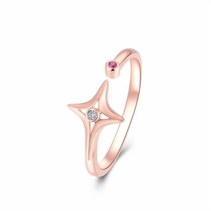 【星月之夜】 玫瑰18K金钻石红宝石戒指