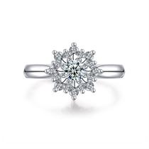 【恋恋四季-初雪】 白18k金钻石戒指女结婚戒指群镶钻戒