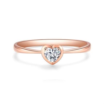 【心系列】 18k玫瑰金宝石镶钻心形钻戒
