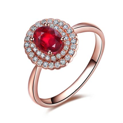 【心之海洋】 玫瑰18K金红宝石戒指