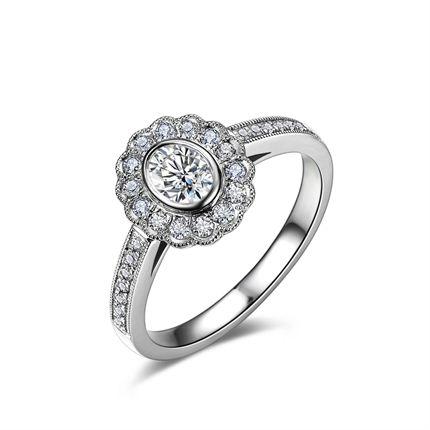 【法兰西玫瑰】 白18K金钻石女士戒指