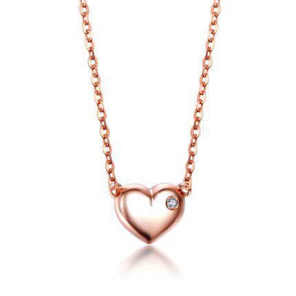 【美丽心情】 18K玫瑰金钻石链牌