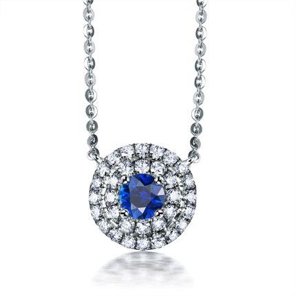 【蓝】系列 白18K金0.26克拉蓝宝石女士吊坠