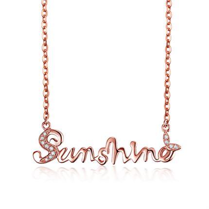 【sunshine】 玫瑰18k金鉆石項鏈牌