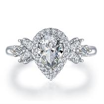 【拥爱】 18k金水滴形1克拉钻戒女求婚结婚戒指