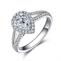 【闪耀系列】 白18k金1克拉异形钻水滴形钻石婚戒
