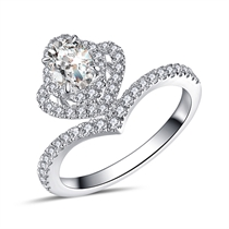 【花系列】 白18k金椭圆形0.5克拉异形钻石女戒婚戒
