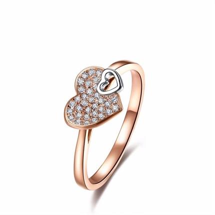 【两心相印】 玫瑰金钻石女款时尚戒指