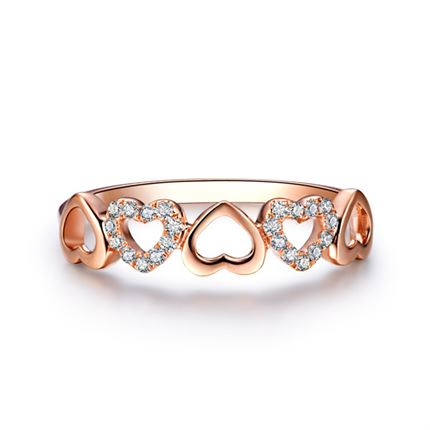 【知心恋人】 玫瑰金心形钻石戒指(两色可定制)