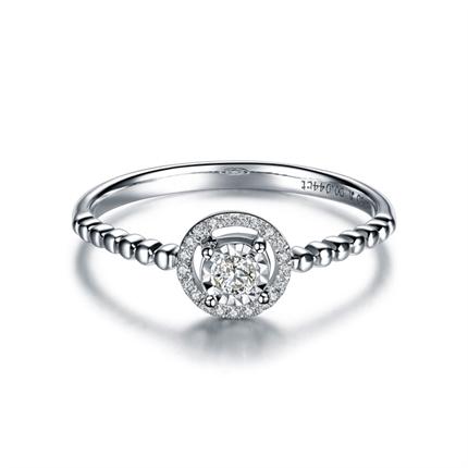 【梦语】 白18K金4分/0.04克拉圆形款钻石戒指
