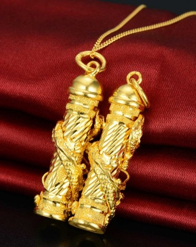 黄金龙柱吊坠有什么寓意  佩戴黄金龙柱吊坠代表的意义