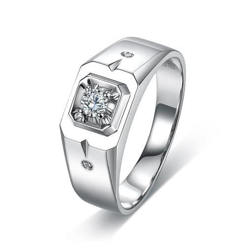 时尚大方的男士18k金钻石戒指