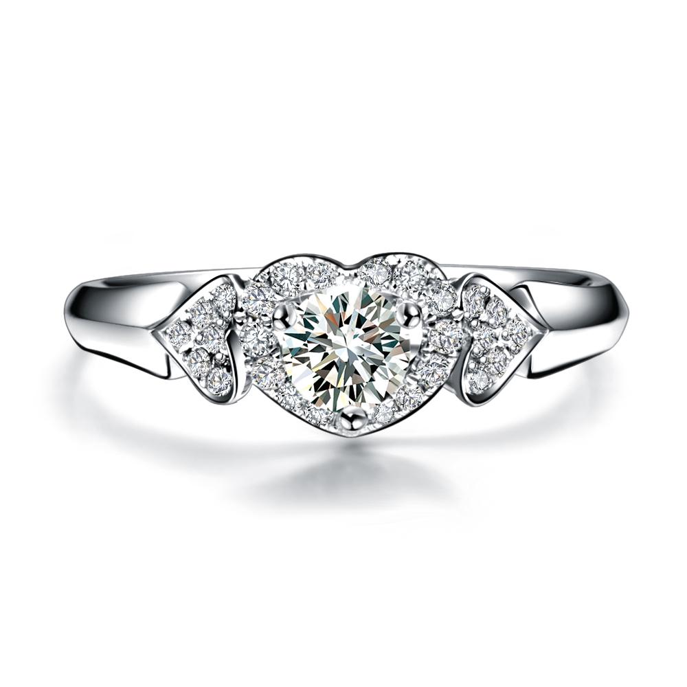 》》点击进入【心 相印】 白18K金19分/0.19克拉钻石女士戒指