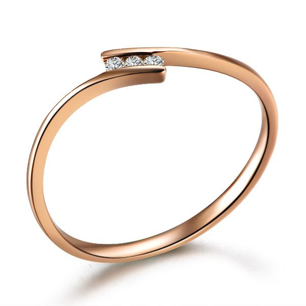 【秀气】 玫瑰金钻石戒指