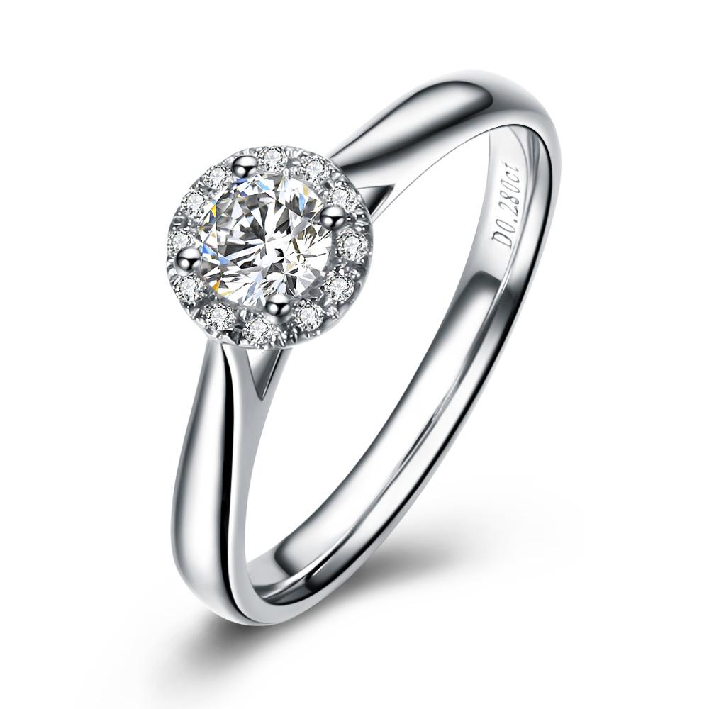 》》点击进入【舞动魅力】  白18K金27分/0.27克拉钻石女士戒指