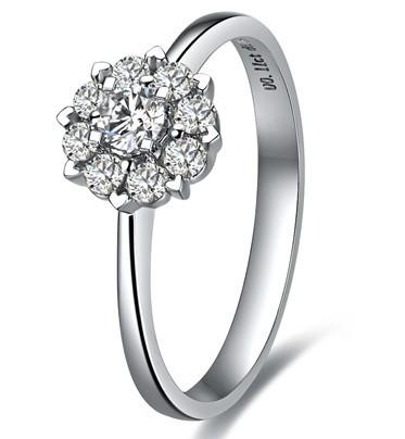 佐卡伊【触电】 白18K金钻石女士戒指