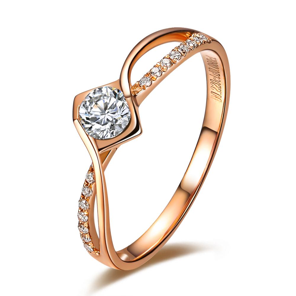 【吻爱】 12分/0.12克拉玫瑰金钻石戒指
