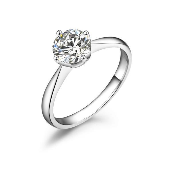【简约】 经典四爪结婚钻戒白18k金80分/0.8克拉钻石戒指