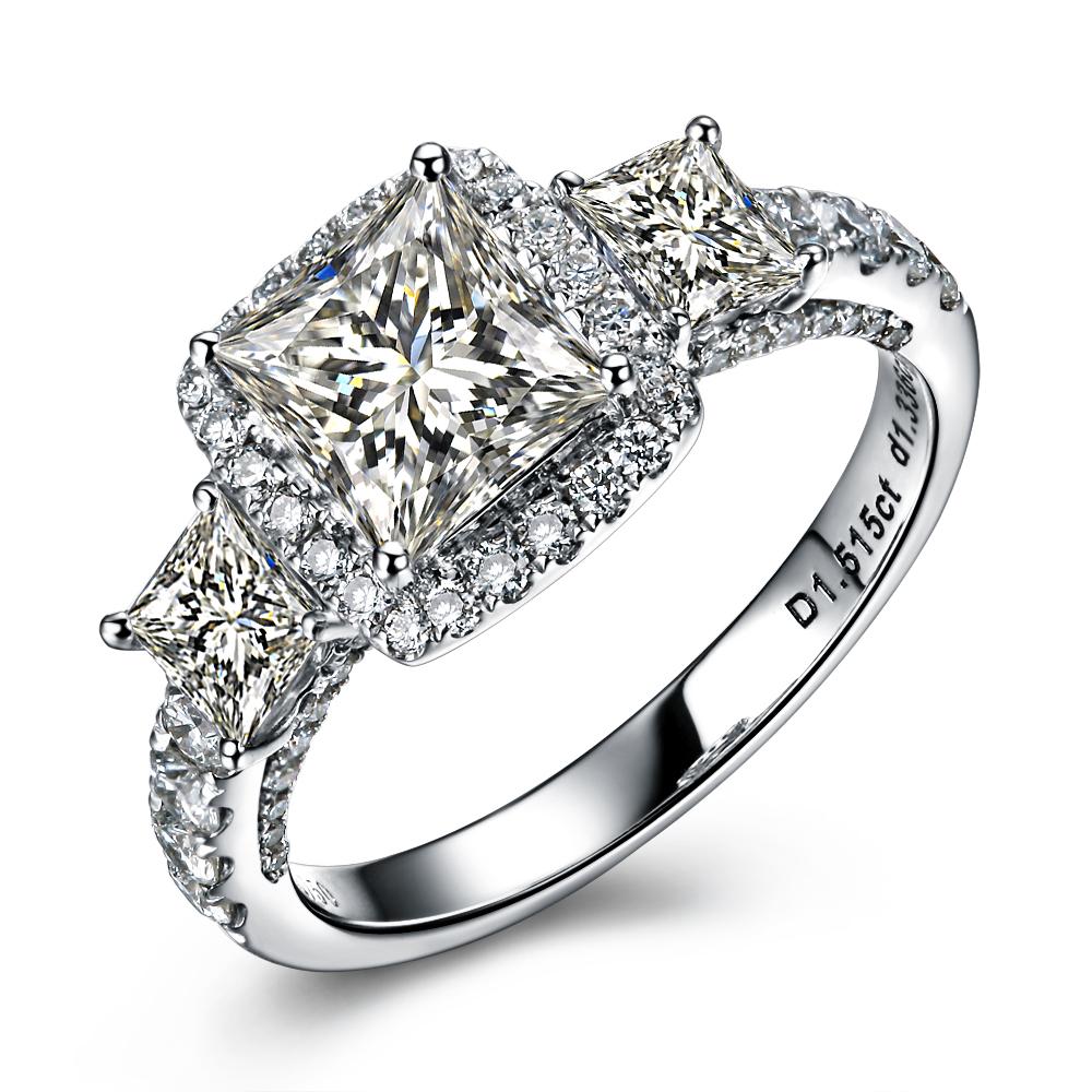 【星河璀璨】 白18k金100分/1克拉钻石戒指
