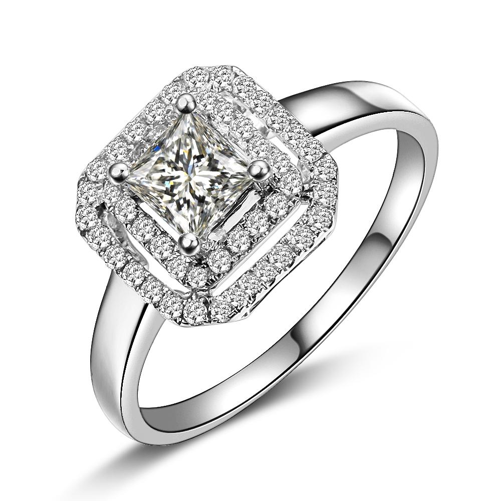 》》点击进入【璀璨闪烁】 公主方白18K金女士戒指