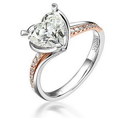 玫瑰金101分钻石女士戒指