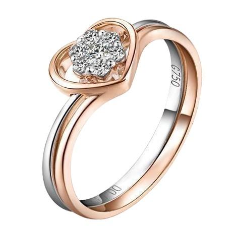 玫瑰金3分/0.03克拉钻石女士戒指