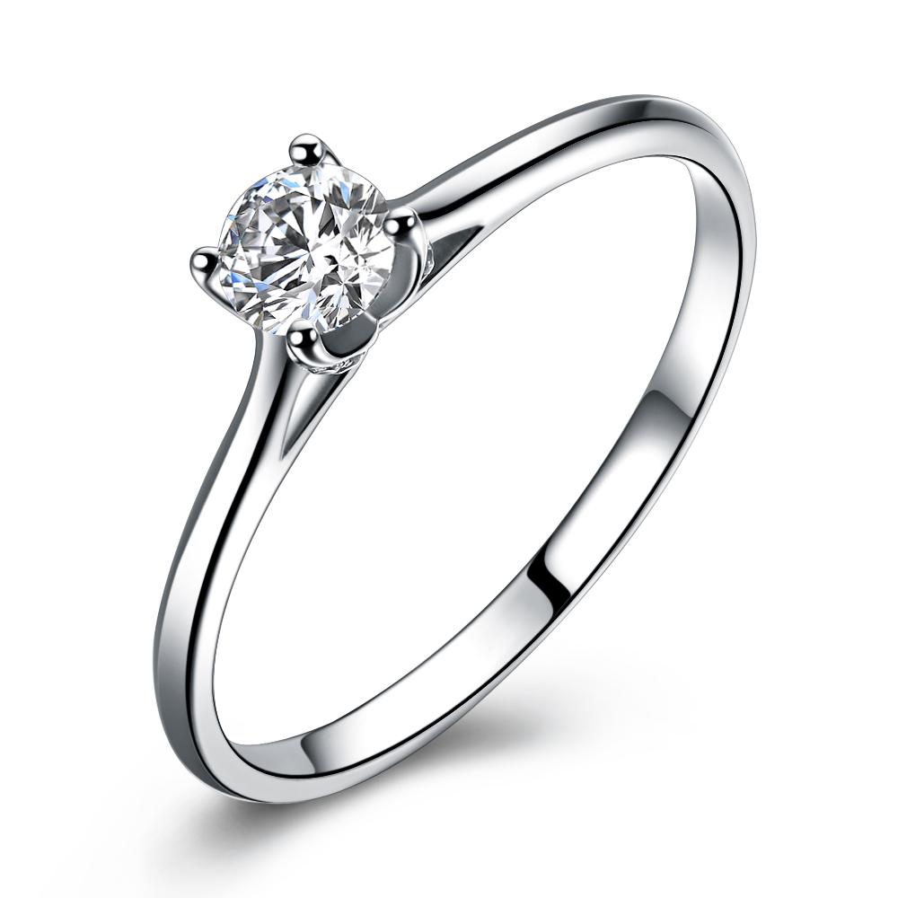 》》点击进入【对白】 白18k金30分/0.3克拉钻石戒指