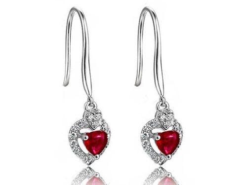 【心悦】 白18K金天然红宝石耳环
