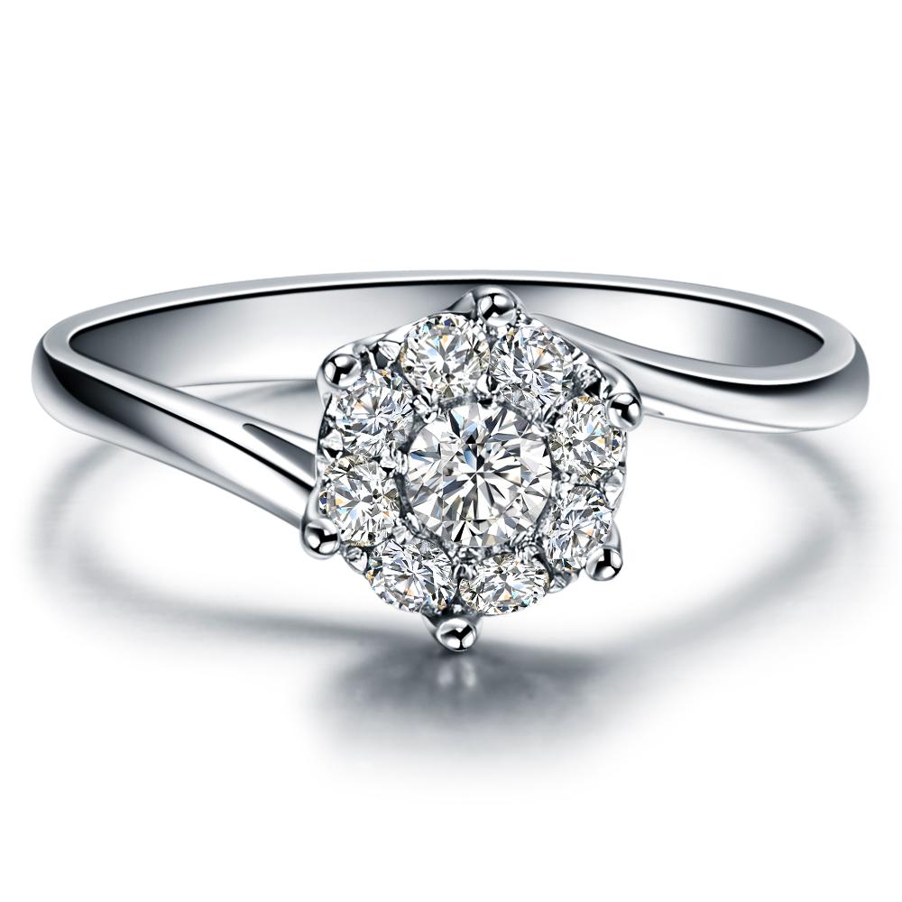 》》点击进入【华冠】 白18K金12分/0.12克拉钻石女士戒指