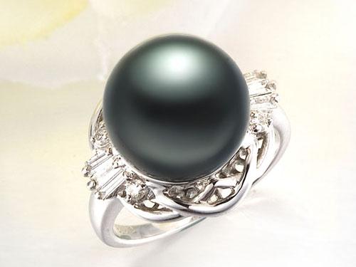【庄容】 天然大溪地黑珍珠白18K金女士戒指