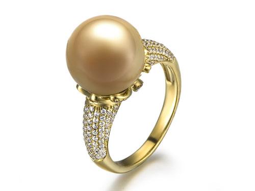 【涵雅】 天然南洋金珍珠黄18K金女士戒指