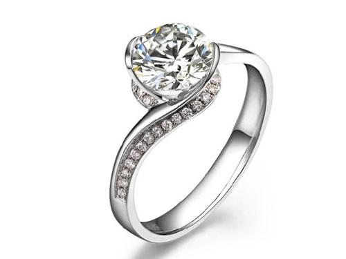 【倾城】 白18K金0.35克拉钻石女士戒指