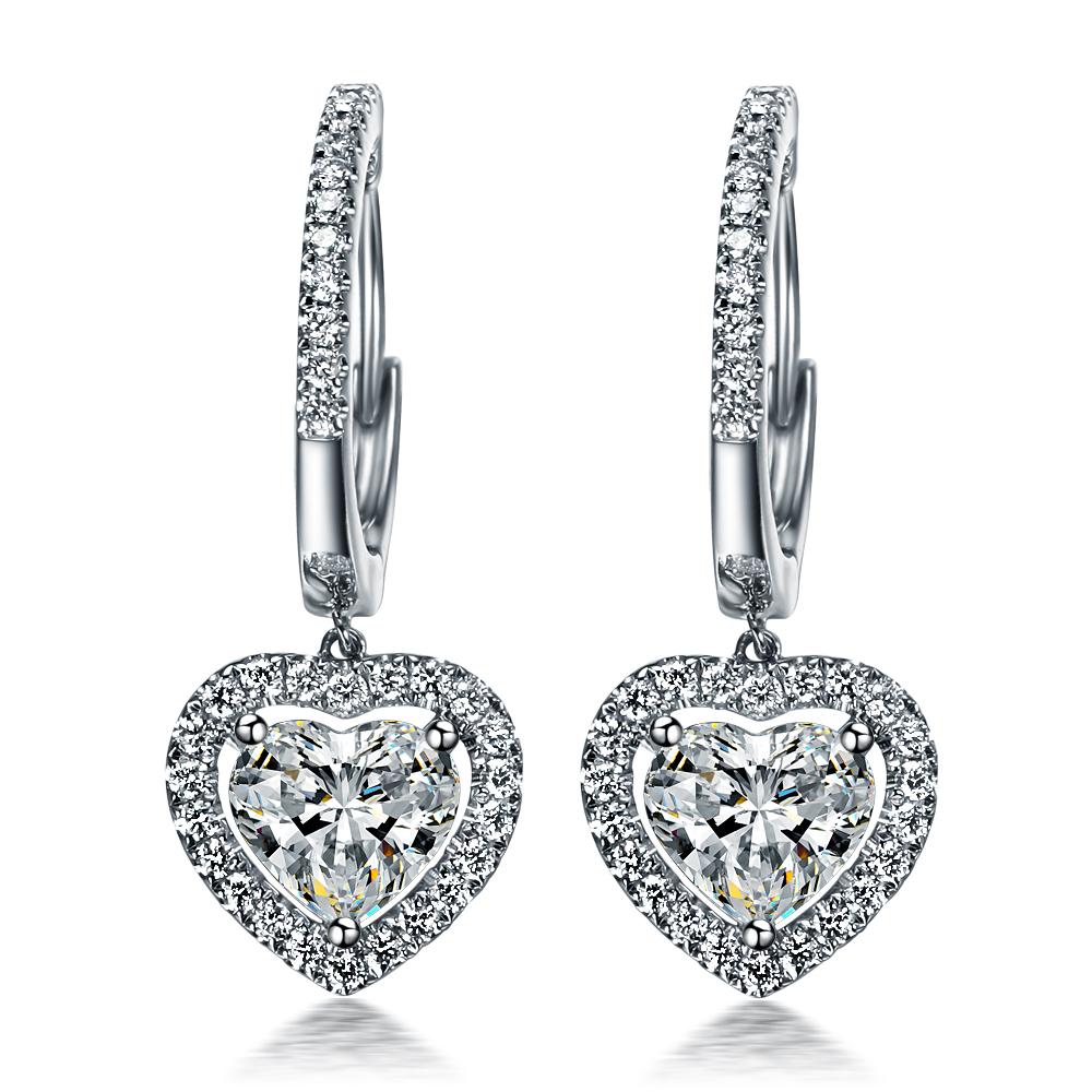 》》点进入【浪漫的心】 白18k金70分/0.7克拉心形豪华钻石耳钉