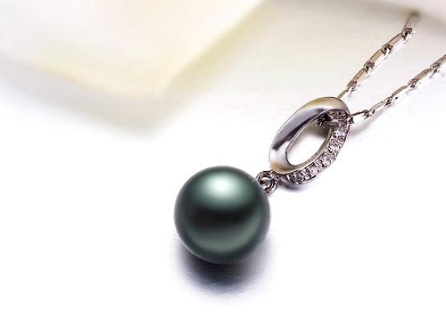 【魅影】 天然大溪地黑珍珠白18K金女士吊坠